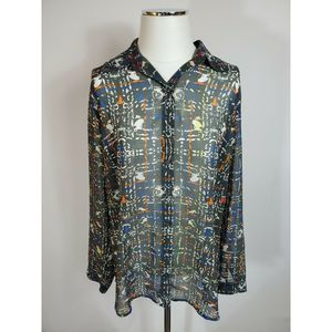 CAbi Sheer Festival Blouse Button Down Top Large